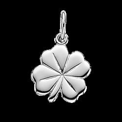 Vedhæng - kløver 13 mm i sølv med kæde - 207802