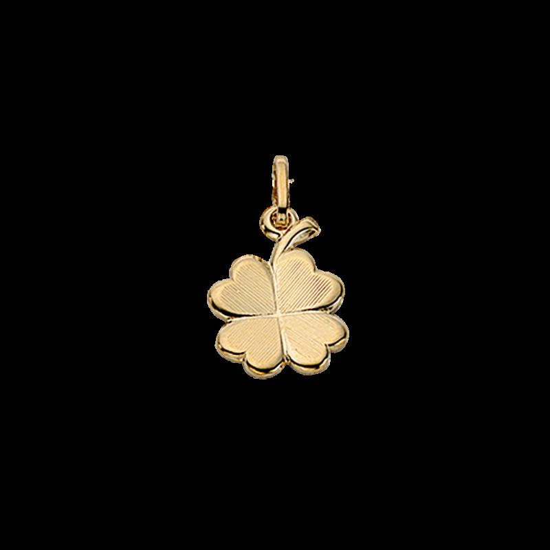 Vedhæng - kløver 10 mm i 8 kt. guld med kæde - 28173