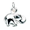 Vedhæng - elefant i sølv med kæde - 260082