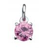 Vedhæng med rund lyserød zirconia med kæde - 260522