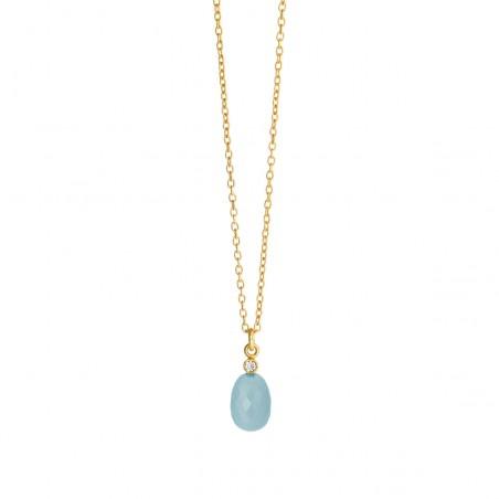 Halskæde med lys blå krystal