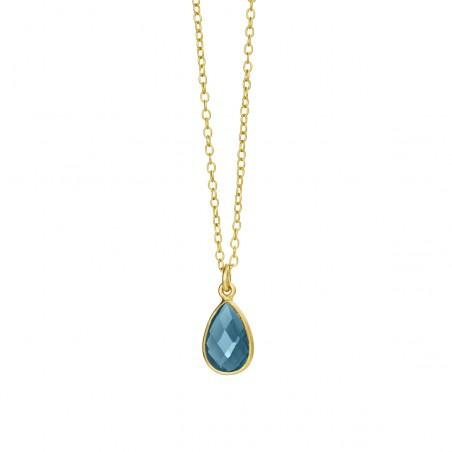 Halskæde med London blå krystal