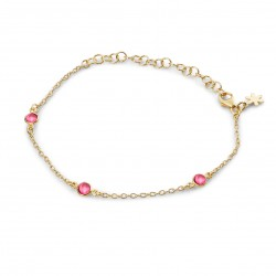Armbånd med pink krystal