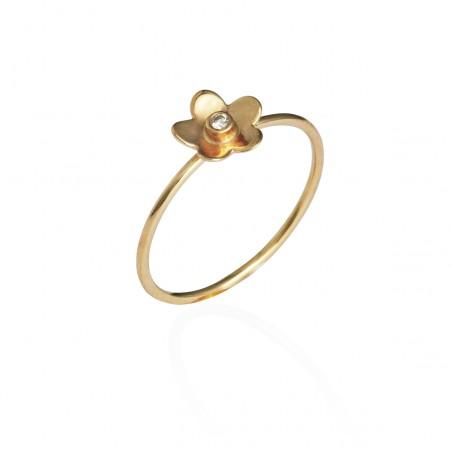 Guld ring med blomst og 0,02 billant