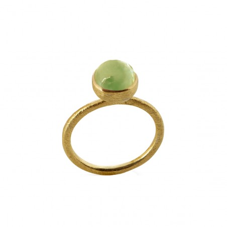 Ring i forgyldt sølv med grøn kvarts