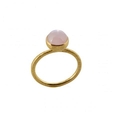 Ring i forgyldt sølv med lys pink krystal