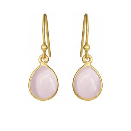Øreringe med glat lys pink krystal dråbe