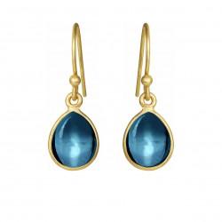 Øreringe med glat London blue krystal dråbe