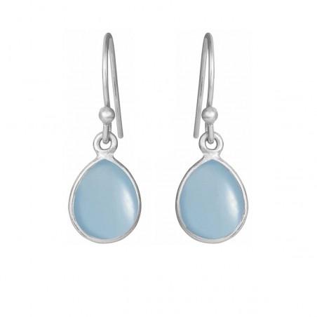 Øreringe med glat lyseblå krystal dråbe