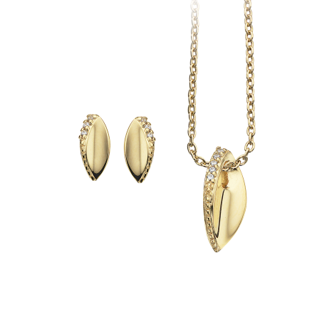 Smykkesæt med zirconia i forgyldt sølv