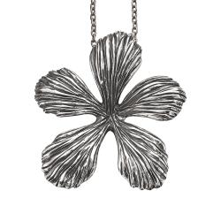 Blomst sølv vedhæng incl. kæde