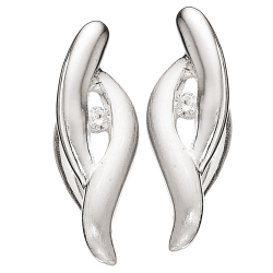 Øreringe i sølv med zirconia