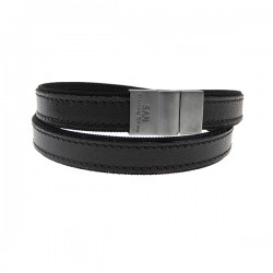 Herrearmbånd i sort læder m. sølv lås
