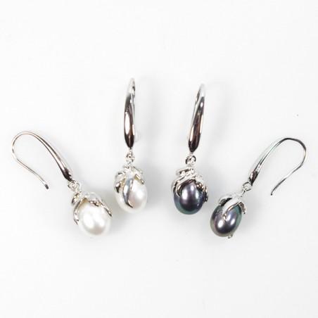 Sølv øreringe  med ferskvandsperler