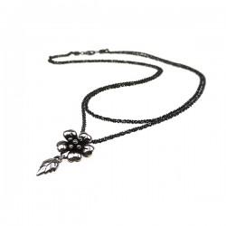 Sølv halskæde med lille blomst