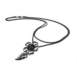 Sølv halskæde med stor blomst