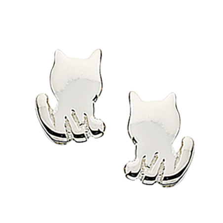 Øreringe - kat i sølv