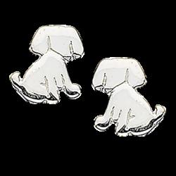 Øreringe - hund i sølv