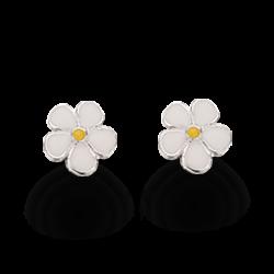 Øreringe - blomst i sølv