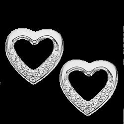 Øreringe - hjerte i sølv med zirconia