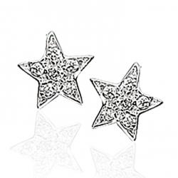Øreringe - stjerne i sølv med zirconia