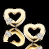 Øreringe - hjerte i forgyldt sølv med zirconia