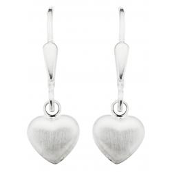 Ørehænger - hjerte i mat sølv