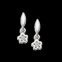 Ørehænger - blomst i sølv med zirconia
