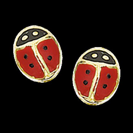 Øreringe - mariehøne i 8 kt. guld