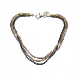 Sølv halskæde, 3 farvet