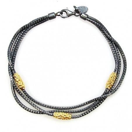 Sølv armbånd med forgyldte charms