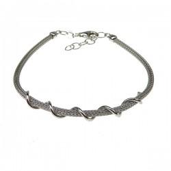 Sølv armbånd med snoet tråd