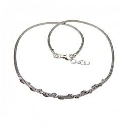 Sølv halskæde med snoet tråd