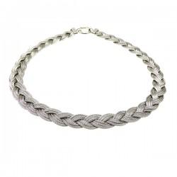 Kraftig sølv halskæde - flet