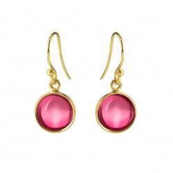 Ørehænger med pink krystal