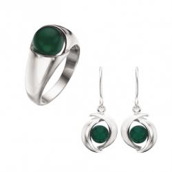 Smykkesæt med sølv med grøn...