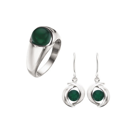 Smykkesæt med sølv med grøn agat
