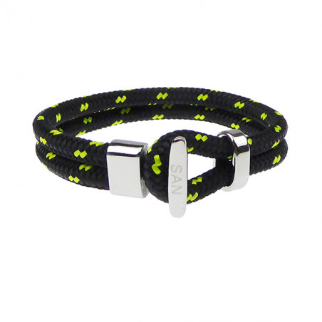 Armbånd - Outdoor rope 2x6 mm - sort/gul