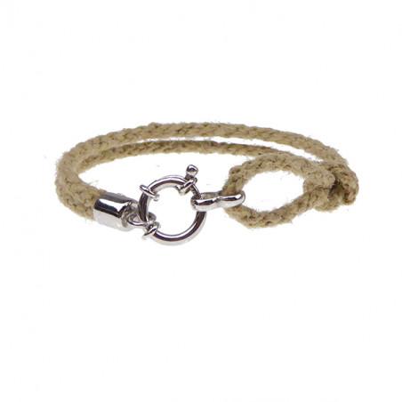 Armbånd - Outdoor rope - 2 rækket med rund sølv lås - nature