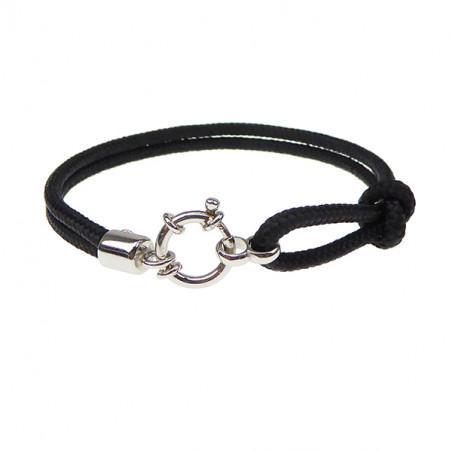 Armbånd - Outdoor rope - 2 rækket med rund sølv lås - sort