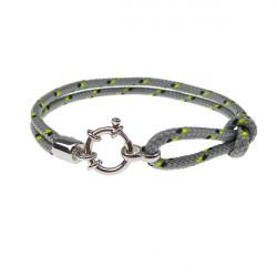 Armbånd - Outdoor rope - 2 rækket med rund sølv lås - grå