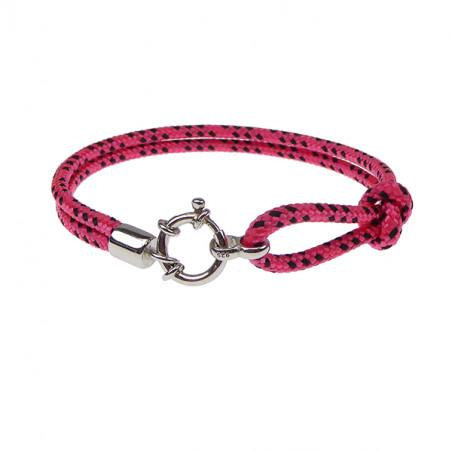 Armbånd - Outdoor rope - 2 rækket med rund sølv lås - pink