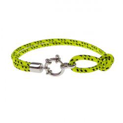 Armbånd - Outdoor rope - 2 rækket med rund sølv lås - gul