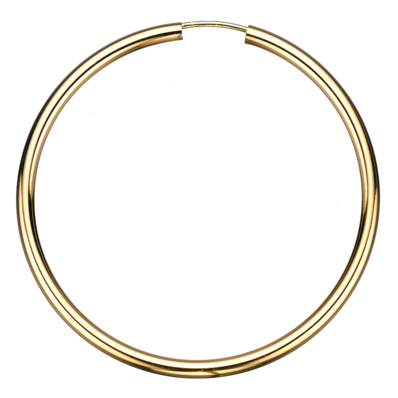 Guld ørecreoler 2,5 x 50 mm