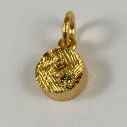 Coin - vedhæng i forgyldt sølv med grøn brillant - 52-2-62FG - P1