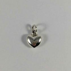 Massiv hjert - vedhæng i sølv