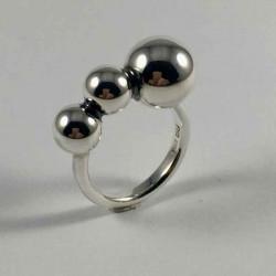 Bubbles - Ring med bobler i sølv - 29-2-89 - P1