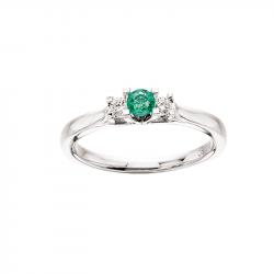 Zoya Ring 14 kt. Hvidguld 0,11 H-W/SI 0,17 Smaragd - 7526SM
