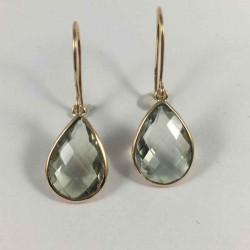 Guld ørehænger med prosiolit - 3448-5 - 1