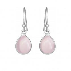 Øreringe med glat lys pink krystal dråbe - 5249-1-112